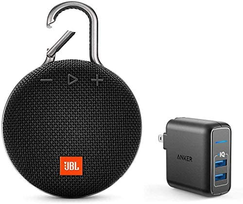 JBL Clip 3 Portable Bluetooth Wireless Speaker Bundle with Dual Port 24W USB Travel Wall Charger – Black