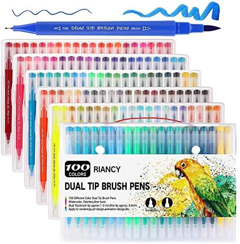 RIANCY 水性筆ペン 水彩ペン カーラーペン ブラシペン 両端ペン先 水彩毛筆 カラー筆ペン 絵描き 塗り絵 (100色セット)
