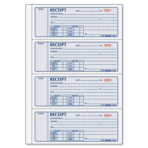 Wholesale CASE of 10 - Rediform Receipt Money Collection Forms-Money Receipts,Carbonless,2 Parts,4 p/Page,2-3/4''x7'',200/BK by Red