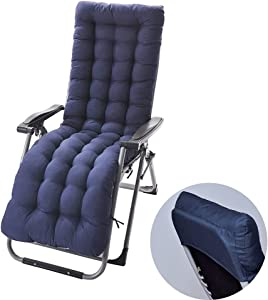 Sun Lounger Chair Cushions,67-inch Lounge Chaise Cushion Sun Lounger Mattress with Non-Slip Back Elastic Sleeve for Garden Outdoor/Indoor/Sofa/Tatami/Car Seat/Bench(67 x 21 x 3 inch, Blue)