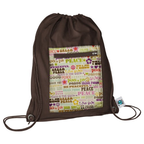 Planet Wise Drawstring Sports Bag, Think Peace, Made in the USA by Planet Wise