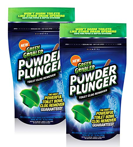 - Green Gobbler POWDER PLUNGER Toilet Bowl Clog Remover - 2 Pack Net WT 16.5 oz