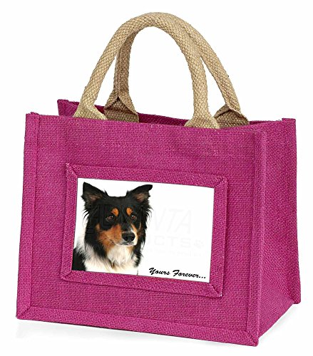 Advanta–Mini Pink Jute Tasche dreifarbig Border Collie dogyours Forever. Little Mädchen klein Shopping Weihnachten Geschenk, Jute, pink, 25,5x 21x 2cm