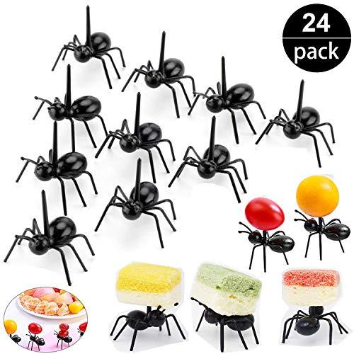 2 Dozen Reusable Ant Food Pick, Fruit Toothpicks Dessert Fork Cocktail Picks (24Pcs)-Animal Appetizer Forks for Snack Cake Dessert, For Kids& Party ()