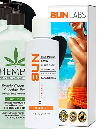 Conditioner Asian Pear - Hempz Exotic Herbal Body Moisturizer, Green Tea and Asian Pear, 17 Fluid Ounce (2-Pack) + Dark Self Tanner 4 oz + Lotion Applicator