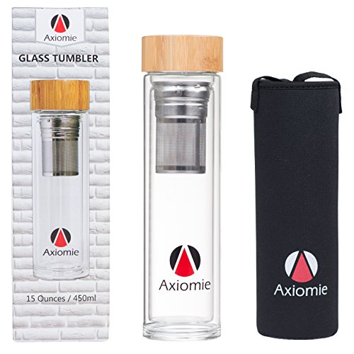AXIOMIE Tea Glass Tumbler with Infuser & Strainer - Insulated Water Bottle Bamboo Lid and Neoprene Sleeve - Mesh Filter Brewing Loose Leaf Tea and Fruit Infused - Cold Brew Coffee Travel Mug 15oz ()