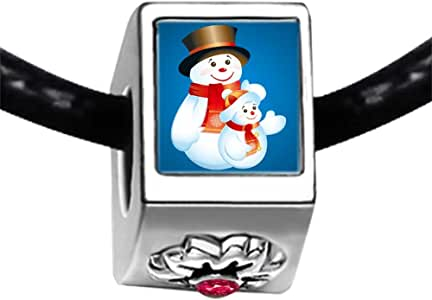 Chicforest Silver Plated Mother and Child Christmas Snowman Photo Red Zircon Crystal July Birthstone Flower Charm Beads Fits Pandora Charm