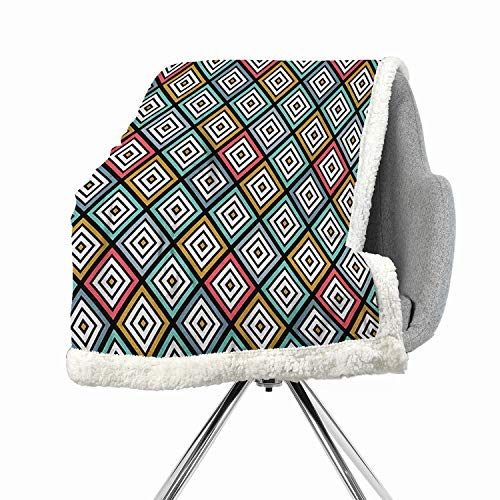 Abstract Berber Fleece Blanket Small Quilt 60 by 78 Inch for Bed, Couch, Sofa, Chair Multicolor Retro Rhombuses Pattern with Different Tones Classic Fashion Geometric - Sout Fabric