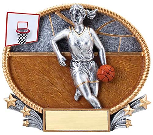 Decade Awards  Basketball Oval 3D Trophy - Female  Basketball MVP Award | 7 Inch Tall - Customize Now