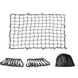 Cargo Net 5'x7' Heavy Duty Truck Bed Bungee Nets Stretches to 10'x14' with 16pcs D Shape Aluminum Carabiners Universal for Pickup Truck SUV Trailer etc