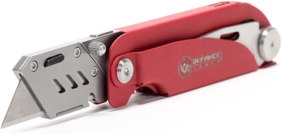 Defiance Tools Utility Knife Multitool, 6 in 1 EDC Tool, Heavy Duty Box Cutter, Utility Blade, Saw Blade, Jacknife Blade, CR-V Screwdriver Bits, LED Light, EDC Multi-Tool Red Stainless Steel
