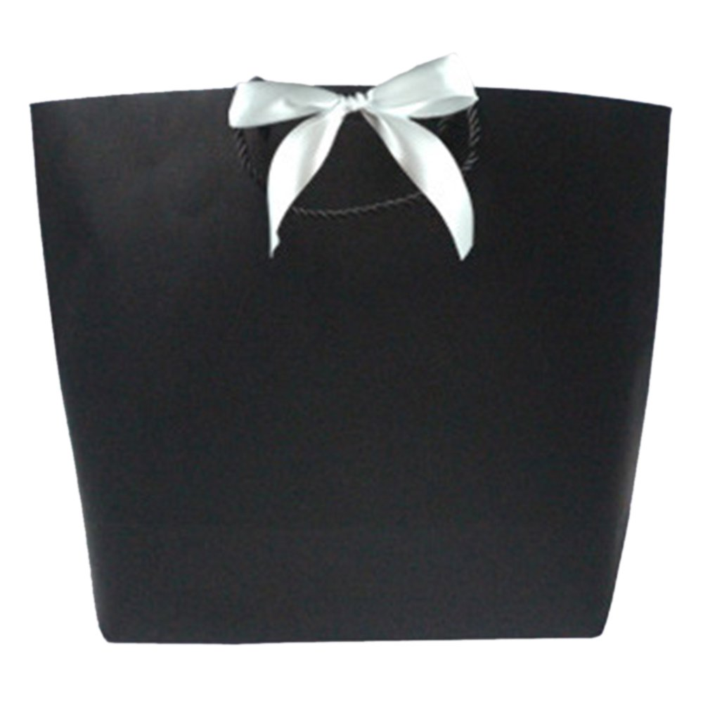 (Price/10 PACK)Aspire White Ribbon Bowknot Paper Gift Bags(S-XL)-XL- 300 PACK