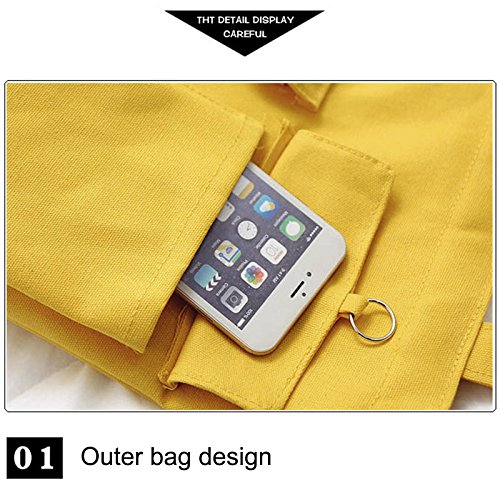 Shopping Reusable Grocery Handbag Shoulder Tote Bags Yellow Foldable Travel Cutogain Women Students Canvas qO1fnx4a4