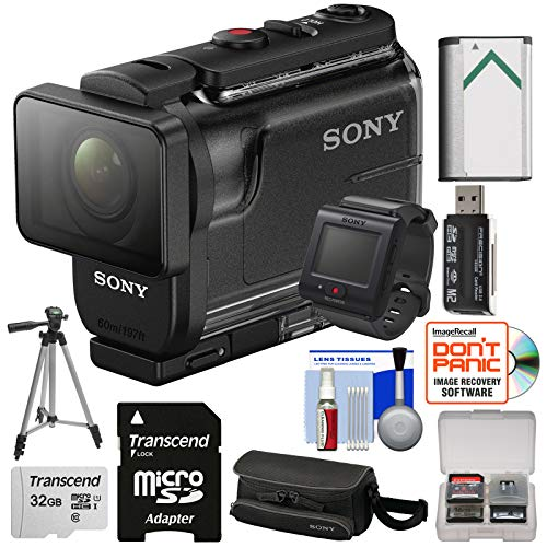Sony Action Cam HDR-AS50R Wi-Fi HD Video Camera Camcorder & Live View Remote with 32GB Card + Battery + Case + Tripod + Kit