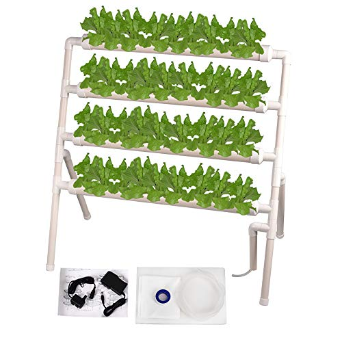 Giraffe-X Hydroponic Grow Kit 36 Sites 4 Pipes Standing Type Hydroponic Planting Equipment Ebb and Flow Deep Water Culture Balcony Garden System Vegetable Tool Grow Kit ()
