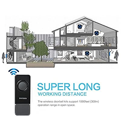 PHYSEN Model K (Black) Wireless Doorbell Kit with 3 Door Chimes and 2 Push