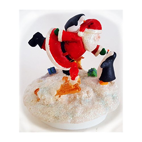 Santa's Village Candle Topper with Santa and Penguin
