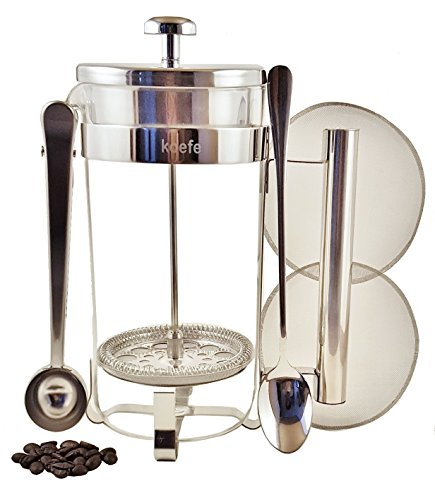 Classic French Press Coffee, Expresso & Tea Maker Complete Bundle Set | 34 Oz, 8 Cups | Best Stainless Steel Coffee Press Pot with Double German Glass