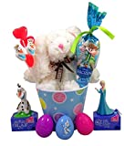 Disney s Frozen Easter Basket with Stuffed Animal Bunny Rebbit Lollipops and Olaf and Elsa Candy Dispensers