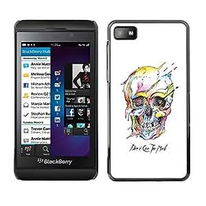 """For Blackberry Z10 Case , Cráneo colorido Muerte Blanca Arte Negro"""" - Diseño Patrón Teléfono Caso Cubierta Case Bumper Duro Protección Case Cover Funda"""