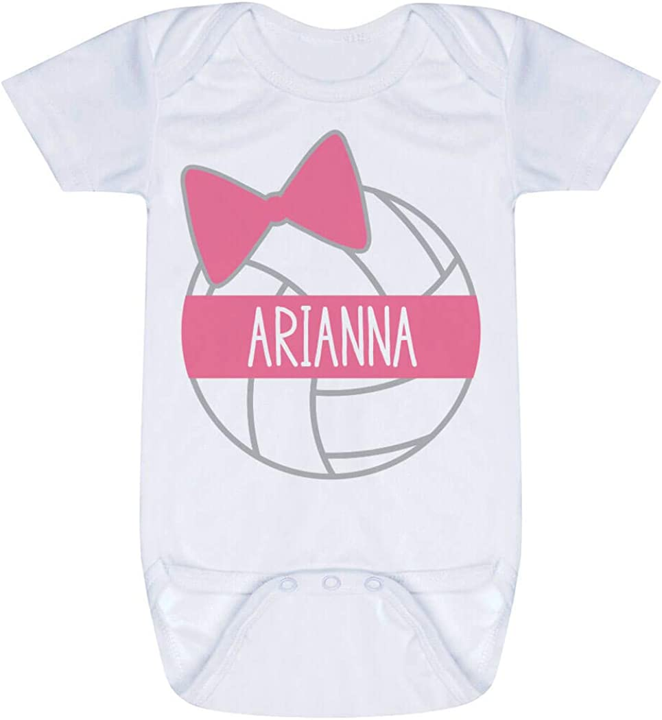 ARCHED TEXT Custom Choose Text /& Number Personalized Volleyball Baby One Piece