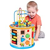 Elover Wooden Activity Cube 8 in 1 Baby Bead Maze Toy Multi-purpose Toys Gifts for Kids Children
