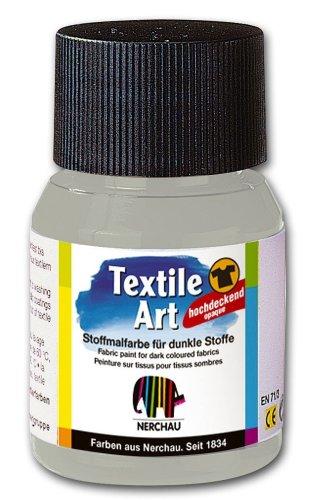 Nerchau 144804 - Textile Art Stoffmalfarbe für dunkle Stoffe 59 ml, Silber