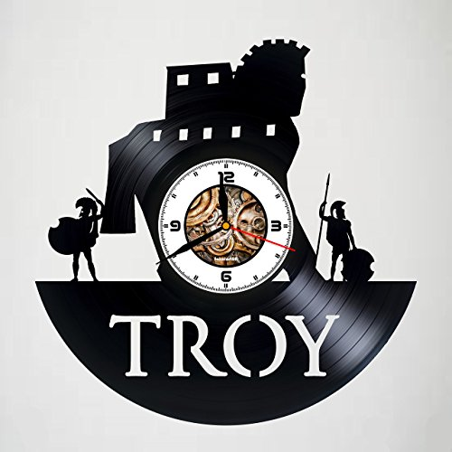 TROY - MOVIE - Handmade Vinyl Record Wall Clock - Artwork gift idea for birthday, christmas, women, men, friends, girlfriend boyfriend and teens - living kids room nursery -