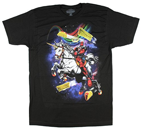 Marvel Comics Deadpool Riding Unicorn Maximum Effort Graphic T-Shirt - X-Large (Heroes And Villains Clothing)