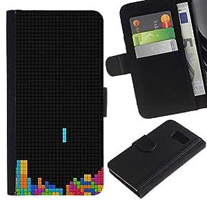 KLONGSHOP // Tirón de la caja Cartera de cuero con ranuras para tarjetas - Solitaria Juego colorido Tetr1s - Samsung Galaxy S6 //