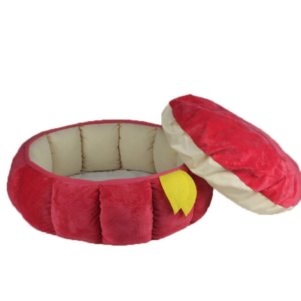 Red S red S NINGVONG Pumpkin Pet Bed Kennel Cat Nest Full Polyester Super Soft Fabric Red Pumpkin Pet Bed Pet Nest, Red, S