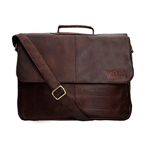 Hidekraft Leather Overnighter Laptop Bag for Men, Brown, 15 inches