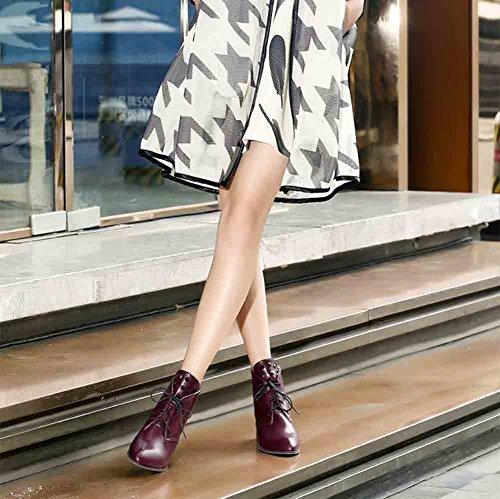 Easemax Moda Donna Rivetti Scarpe Stringate A Punta Tacco Medio Con Tacco Largo Rosso Vino