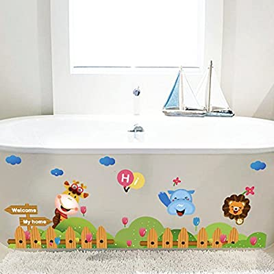 Wallpark Cute Animals Giraffe Lion Fence Baseboard Removable Wall Sticker Decal, Children Kids Baby Home Room Nursery DIY Decorative Adhesive Art Wall Mural