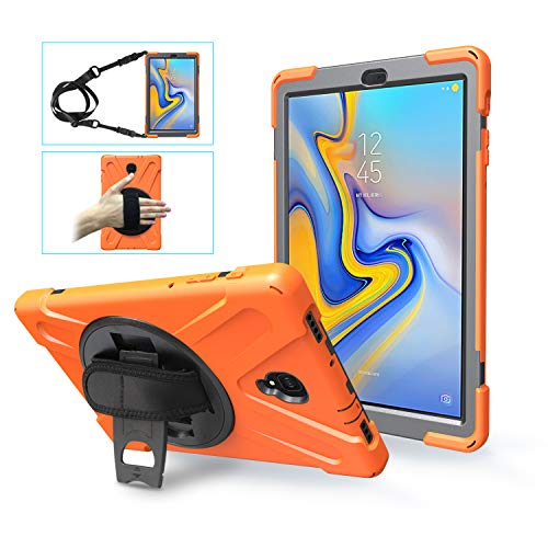 Galaxy Tab A 10.5 Inch 2018 Case,ZERMU Heavy Duty Three Layer Shockproof Rugged Hard PC+Silicone Armor Case with Built-in Stand+Hand Strap+Shoulder Strap for Samsung Galaxy Tab A 10.5 SM-T590/SM-T595