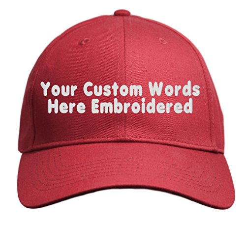 (Custom Hat, Embroidered. Your Own Text. Adjustable Back. Curved Bill (Red))