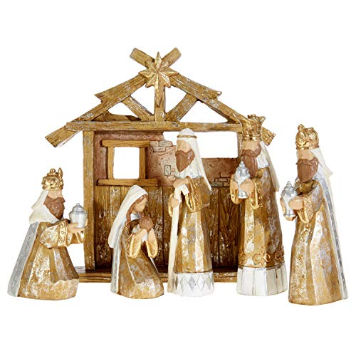 (RAZ Imports Goldtone Rustic Wood Carved Look 6 Piece Resin Nativity Scene Set with Creche Stable)