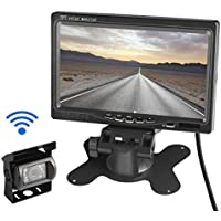 LESHP Rear View Wireless IR Night Vision Backup Camera, 7 Screen Full Color High-resolution Picture Avoiding Blind Area Wired Waterproof Backup Camera, TFT LCD Color Monitor Kit for Truck and Cars