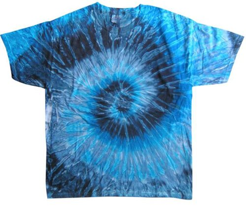 Tie Dyes Men's Tie Dyed Performance T-Shirt H1000 Spiral-evening sky-xl - 70s Hippie Dress
