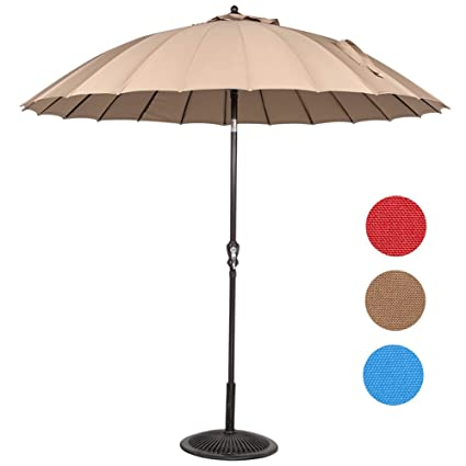 Sundale Outdoor 9 Ft Steel Patio Umbrella Table Market Umbrella With Crank  Lift And Push Button