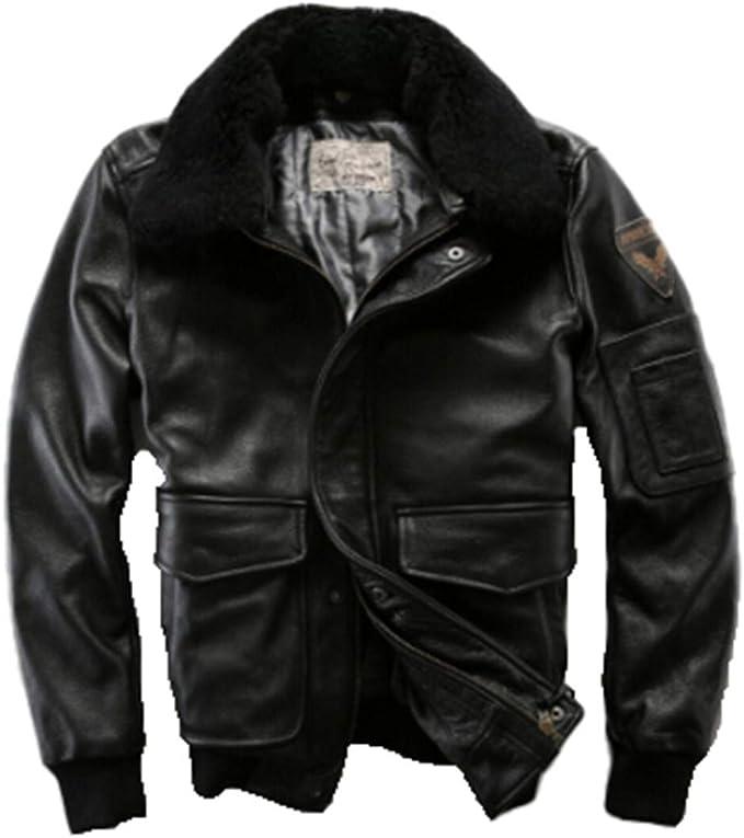 毛皮の襟の取り外し可能なメンズフライトレザージャケット、牛乳冬のコート
