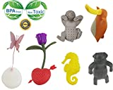 Creative Cute Animal Eco-friendly Silicone Tea Infuser Strainer Set Of 6 PCS Butterfly Rose Seahorse Bradypod Brady-pod Platypus Pug Tea Steeper Tea Lover's Gift