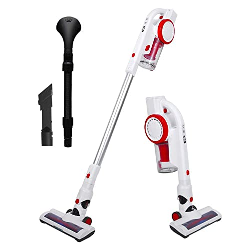 AUCMA Cordless Stick Vacuum Cleaner, 17Kpa Powerful Lightweight Stick Vacuum Cleaner 4 in 1 Handheld Rechargeable for House, Car and Pet with Brushless Motor, LED Brush, Pet Brush Wall-Mount