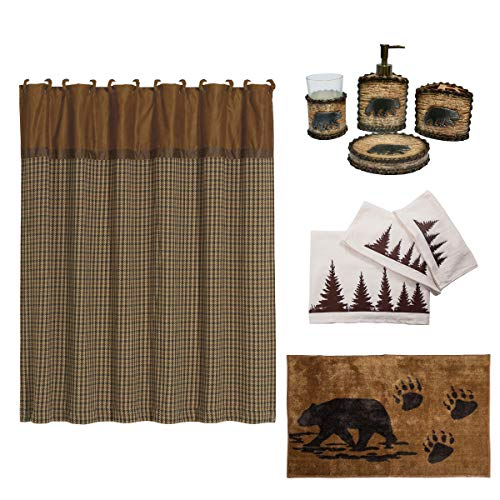 - HiEnd Accents Bear 21-Piece Bathroom, Shower Curtain Hook, Bath Accessory, Rug, Towel Set, Tan