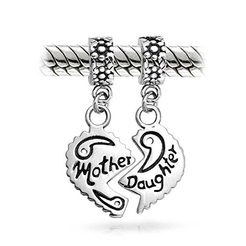 (Engrave Mother Daughter Puzzle 2 Piece Split Heart Sisters Bead Charm For Mom 925 Sterling Silver Fit European Bracelet)
