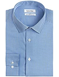Mens Dress Shirts Non Iron Slim Fit Gingham Spread Collar