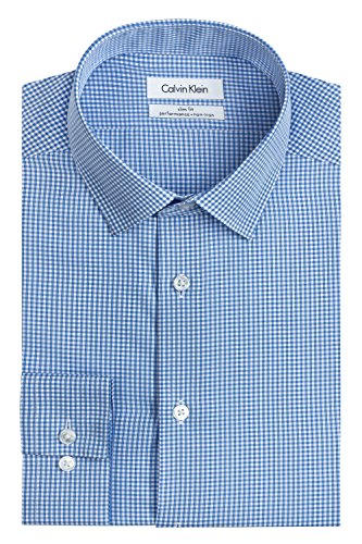 "Calvin Klein Mens Dress Shirts Non Iron Slim Fit Gingham Spread Collar, Blue, 16"" Neck 34"