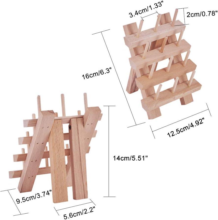 Burlywood 12.5x16cm PandaHall Elite 12 Bobines Support de Filetage Rack en Bois Support Etagere Fil a Coudre en Bois H/être Rangement Bobine De Fil Support de Fil /à Broder en Bois Solide
