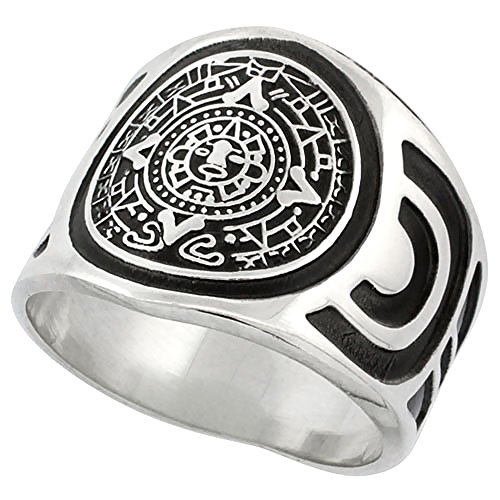 Sterling Silver Aztec Calendar Mayan Sun Ring for Men Aztec Design Sides 18mm Wide, Size 10