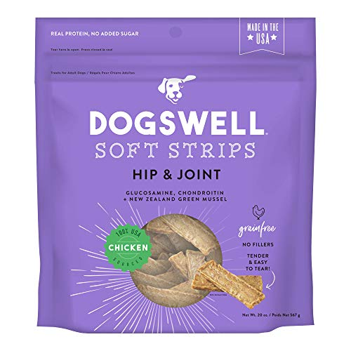 DOGSWELL Hip & Joint Dog Treats 100% Meaty, Grain Free, Glucosamine Chondroitin & Omega 3, Chicken Soft Strips 20 - Strips Jerky Vegetables